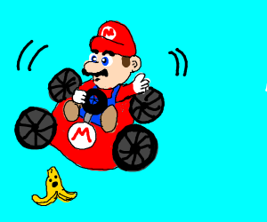 Mario Kart spinning on a banana