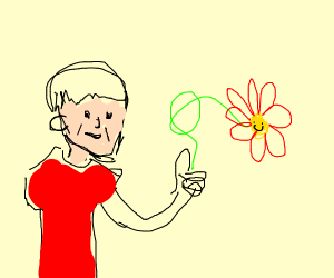 happy person gives happy flower