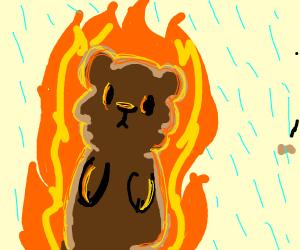 Bear is on fire, but it's raining