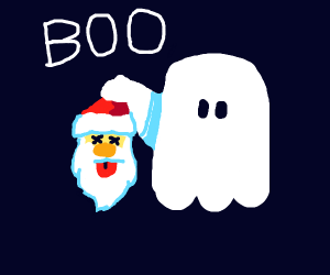 Ghost carrying santa's severed head