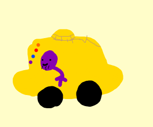 thanos in an infinity gauntlet car (cursed)