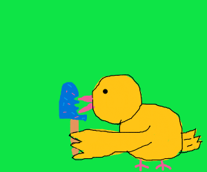 a duck finishing off a Popsicle