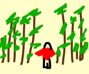 man in red sweater in woods with deer