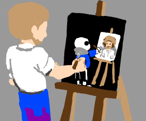 bob ross paints a sans that's painting bob