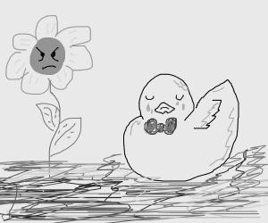 depressed duck wid grumpy flower