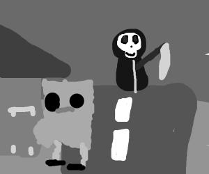 Death sees spongebob trick-or-treating