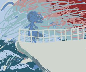 Blueish girl on ship