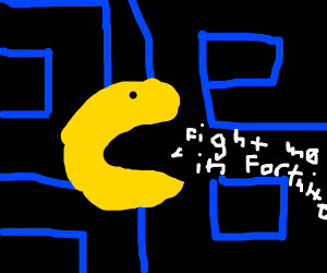 """pacman says """"fight me in fortnite"""""""
