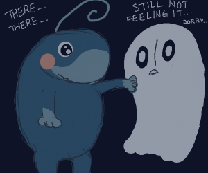 Politoad comforts a sad ghost