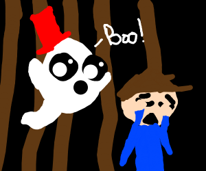 Chibi ghost scaring in the forest