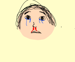 man crying over bloody rose