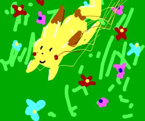 Happy Pokemon skipping thru flowers