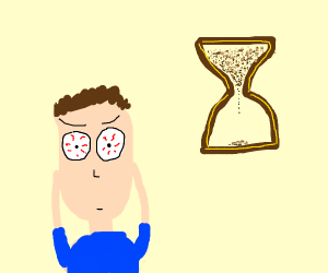 Guy is scared of hourglasses