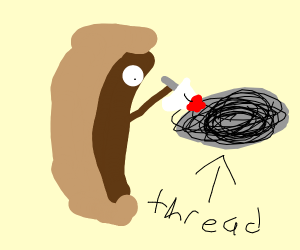Spool of thread about to be killed by hotdog
