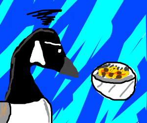 disapointed goose looks at food