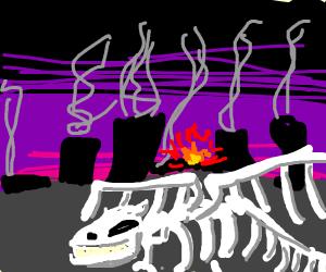 Dragon skeleton lying in a wasteland