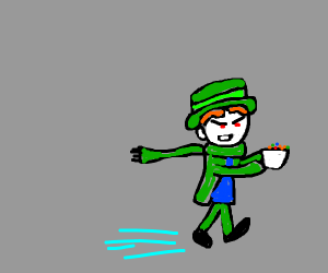 Evil Lucky Charms Kid Stealing Lucky Charms