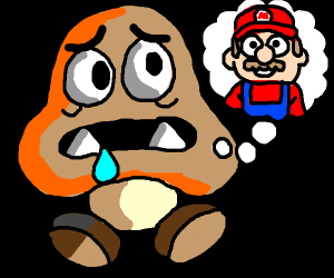 Goomba salivates over the thought of Mario