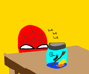 spiderman holds ant captive in a mason jar