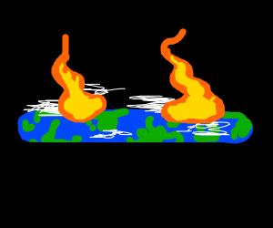 Earth on fire= Flat earth