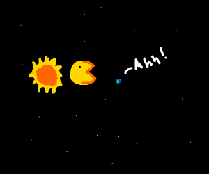 pacman is now sun sized and terrorizes humans