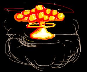 Huge mushroom cloud with rings