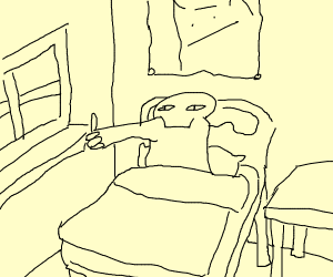 Person's cheek-arm gives thumbs up in bed