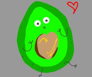 Fresh avocado with heart