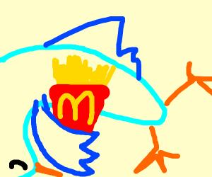 Sleeping bird holding McDonalds fries
