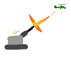 Cannon firing at helicopter