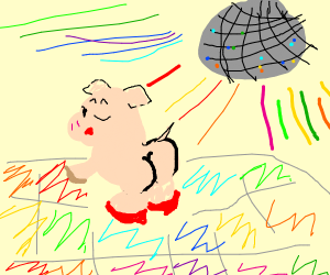 Pig in a disco party