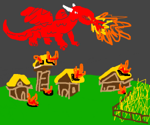 Giant evil dragon terrorizes peasants