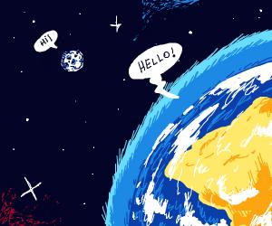 Earth talking to moon