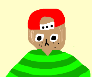 Dog in red hat and green sweater stares