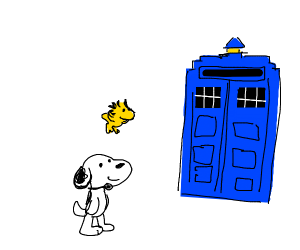 snoopy and the yellow bird near police box