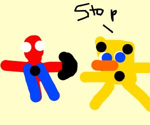 Spiderman calls the cops on Spongebob