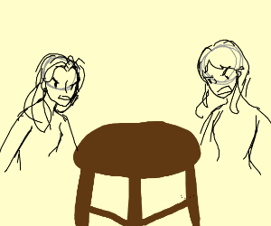 2 people arguing over stool
