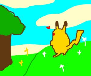 Pikachu admires spring