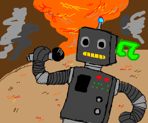Robot singing karoke in an apocalypse