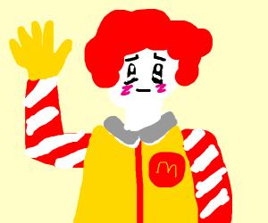 Ronald McDonald waving at you in kawaii style