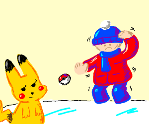 Trying to catch Pokémon in winter (brr)