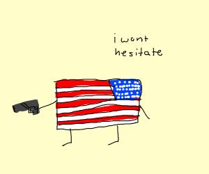 American flag with a gun