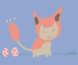cute pokemon cat laying.. eggs!?