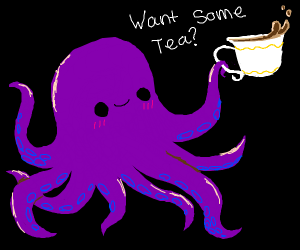 cute octopus offers you some tea