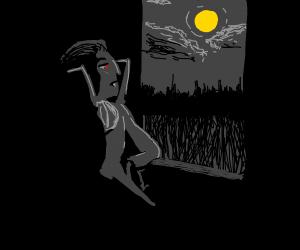 vampire looking at moon