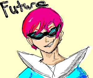 futuristic dude with pink hair