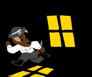 dog pirate running from a window