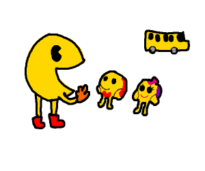 Pacman tries to get his kids ready for school