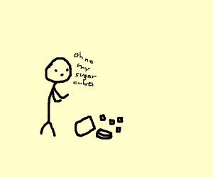 Stick figure spills a jar of sugar cubes