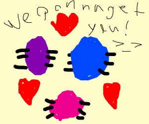 Purple/blue/pink bugs in love dance together